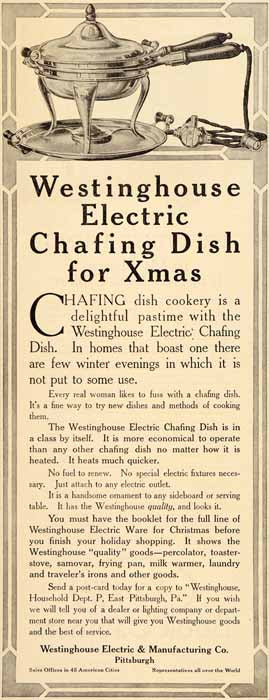 1911 Ad Westinghouse Electric Chafing Dish Cook Kitchen - ORIGINAL SP4