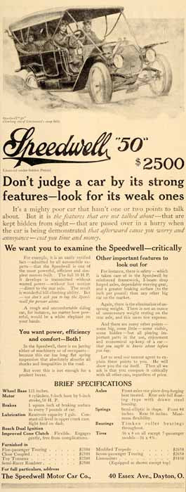 1910 Ad Speedwell 50 Car Antique Vintage Automobile - ORIGINAL ADVERTISING SP4