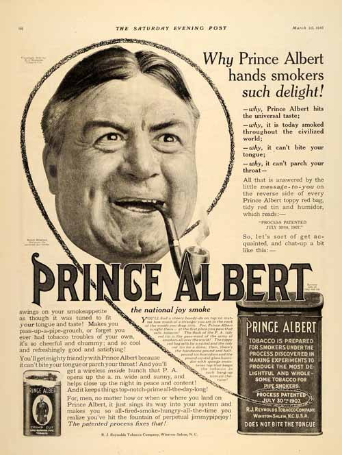1916 Ad Prince Albert Loose Tobacco Smoking Pipe Smoke - ORIGINAL SP4