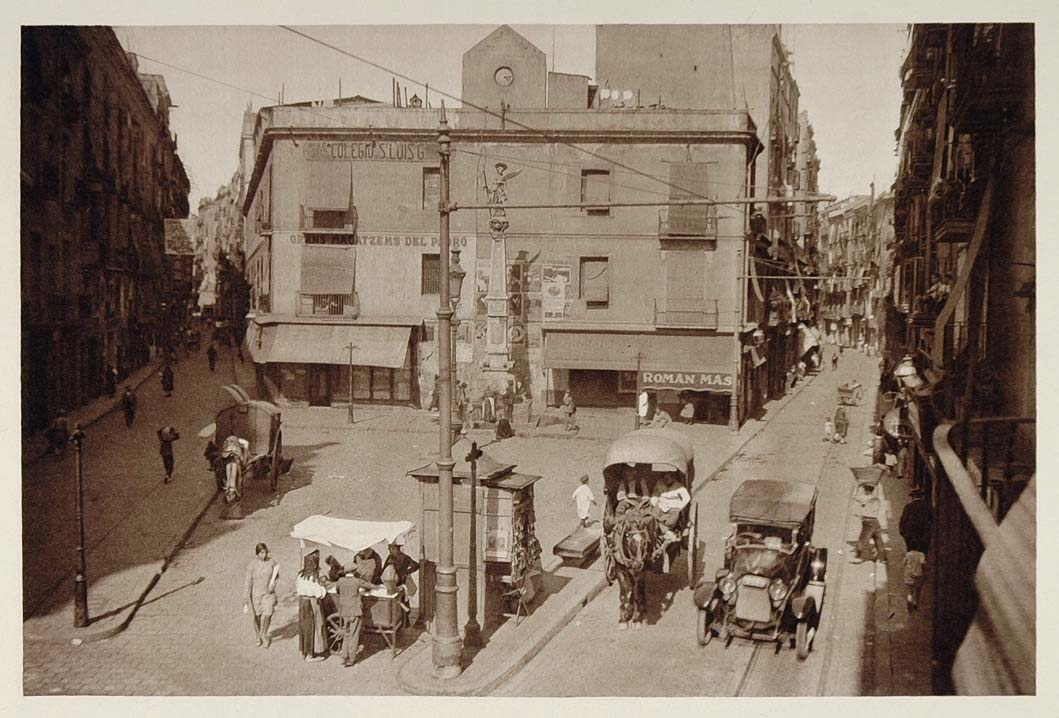 1928 Plaza Padro Square Barcelona Spain Photogravure - ORIGINAL SPAIN3