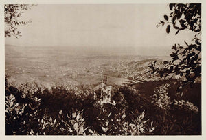 1928 Panorama Suburbs Barcelona Spain Photogravure - ORIGINAL SPAIN3