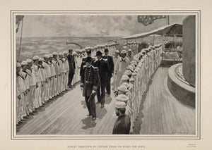1900 Print Spanish-American War The Iowa Captain Evans Inspection Navy Sailors