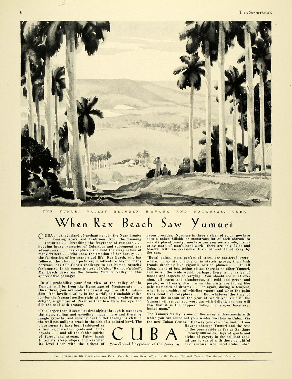 1930 Ad Cuban National Tourist Commission Yumuri Valley - ORIGINAL SPM1
