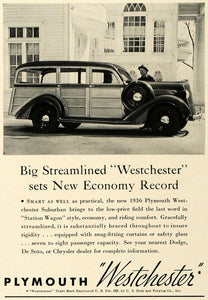 1936 Ad Plymouth Westchester Suburban Automobile Car - ORIGINAL ADVERTISING SPM1