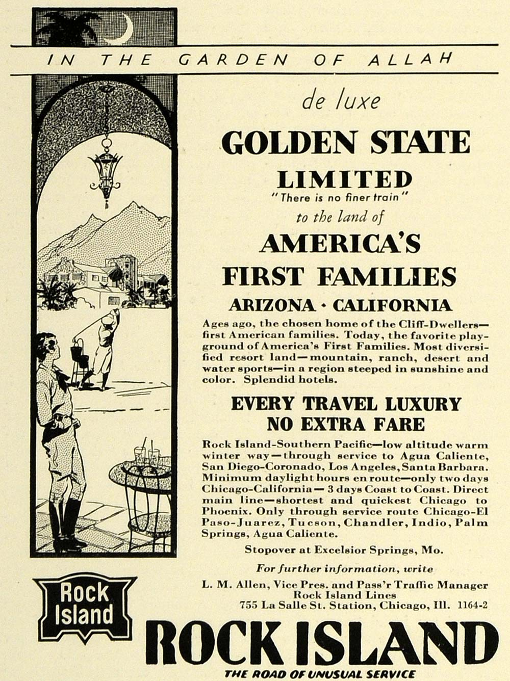 1931 Ad Rock Island Lines Golden State Train Arizona - ORIGINAL ADVERTISING SPM1