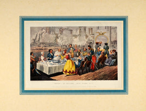1924 Banquet Food Table 1843 Henry Alken Antique Print - ORIGINAL SPT1