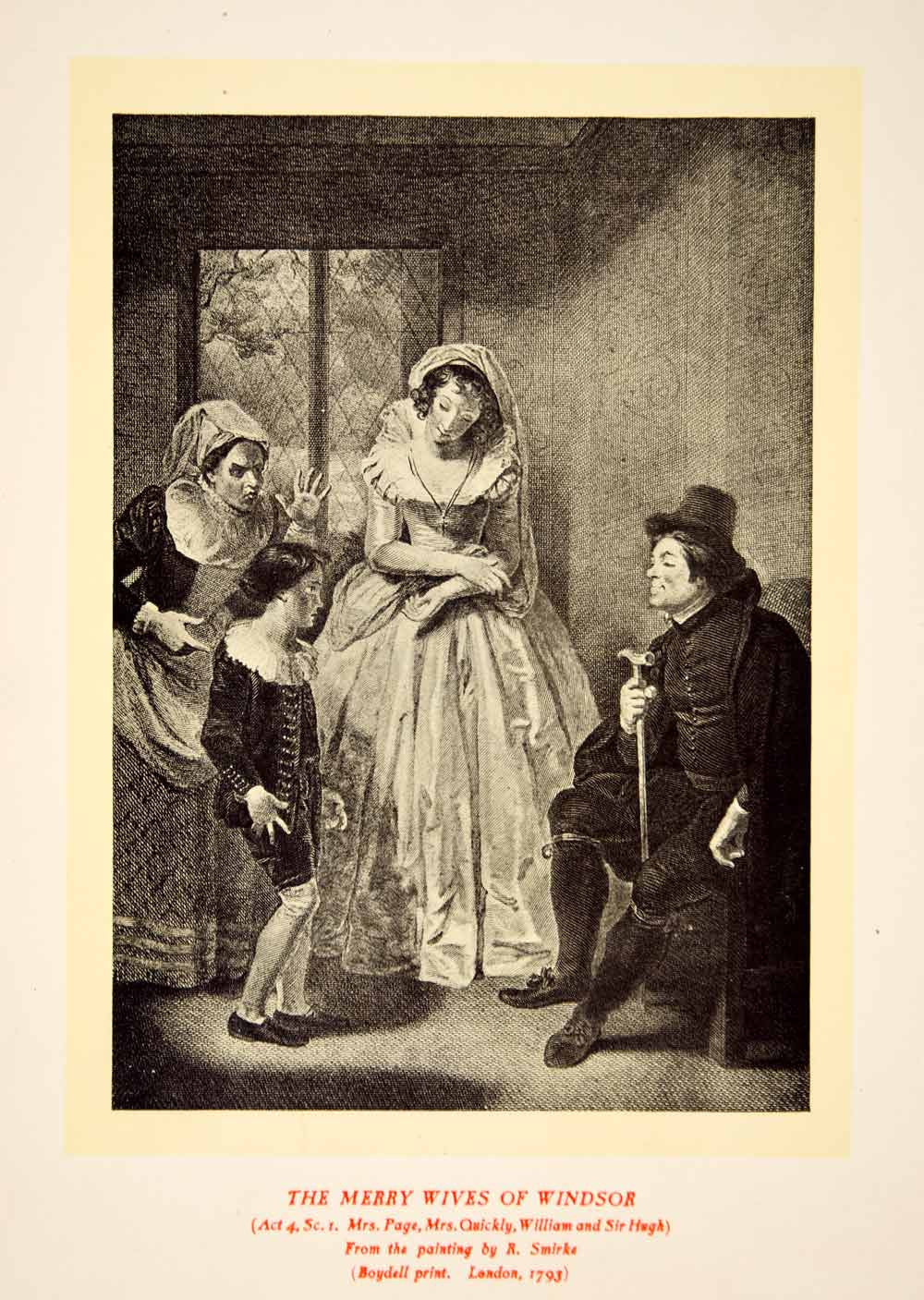 1900 Lithograph Robert Smirke Art Merry Wives Windsor Shakespeare Theater SRP1