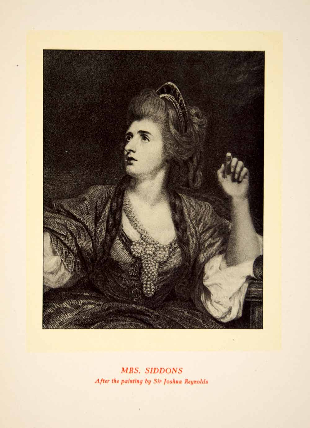 1900 Lithograph Joshua Reynolds Art Sarah Siddons Actress Theater Stage SRP1