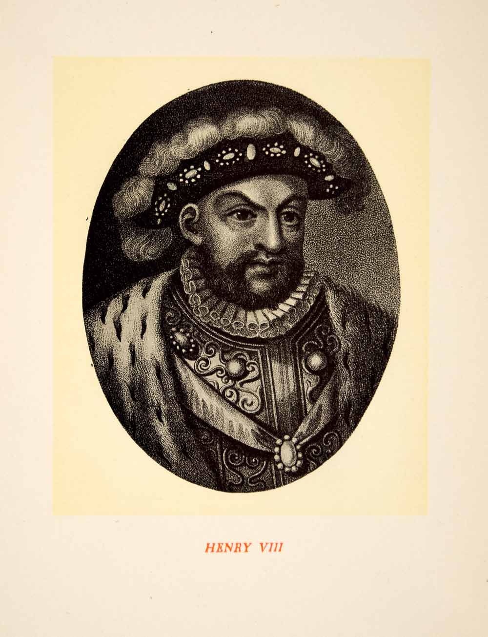 1900 Lithograph Art King Henry VIII England Portrait Royalty Tudor Dynasty SRP1