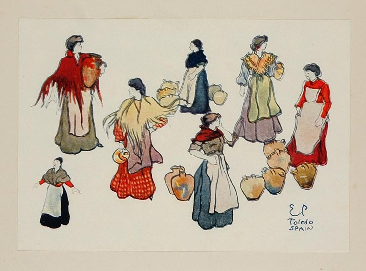 1911 Print Spanish Woman Costume Spain Edward Penfield - ORIGINAL SS1
