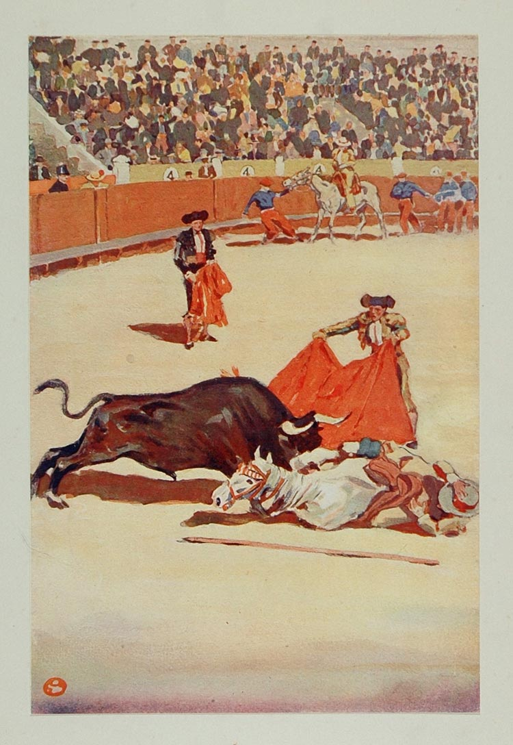 1911 Print Bullfight Matador Picador Edward Penfield - ORIGINAL SS1