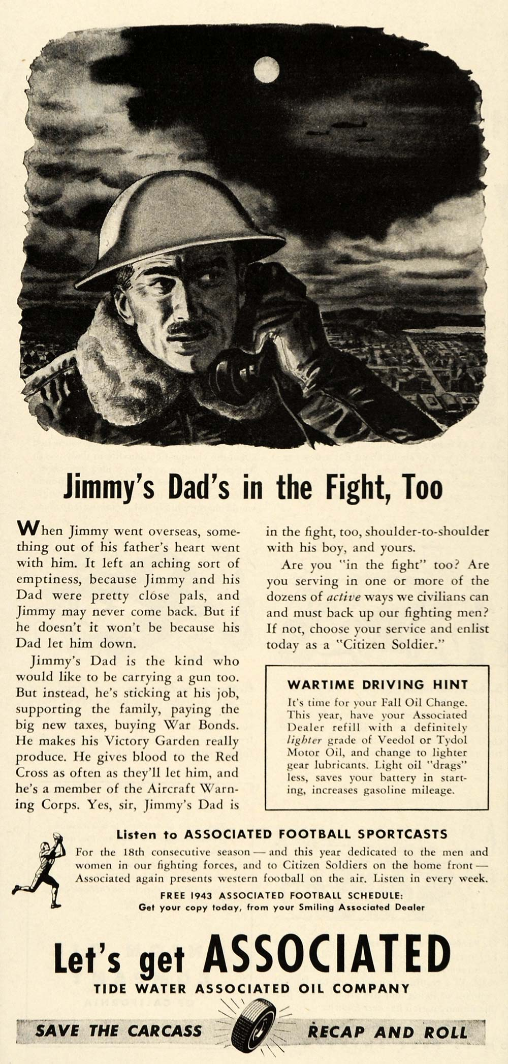 1943 Ad Tide Water Associated Oil Company WWII Soldier - ORIGINAL ST1