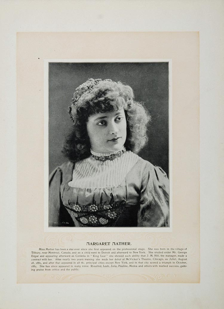 1894 Theater Actors Margaret Mather Tommaso Salvini - ORIGINAL STAGE2