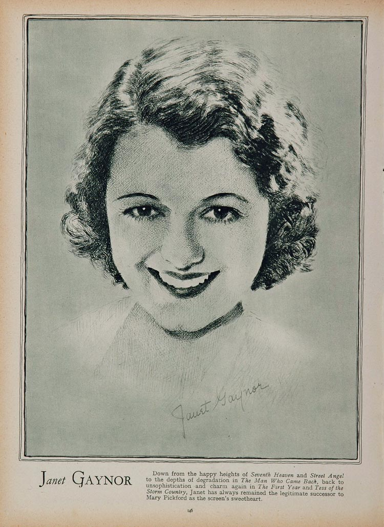 1933 Janet Gaynor Movie Film Actress Portrait Print - ORIGINAL HISTORIC STAGE4