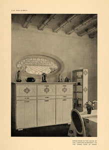 1906 Art Nouveau Dining Room Interior Design Print - ORIGINAL HISTORIC STU1