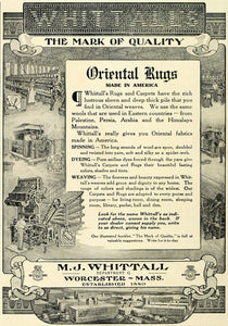 1909 Ad M. J. Whittall Oriental Rugs Floor Coverings - ORIGINAL ADVERTISING SUB1