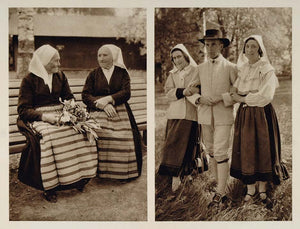 1932 Swedish National Costume Leksand Dalarna Sweden - ORIGINAL PHOTOGRAVURE SW1