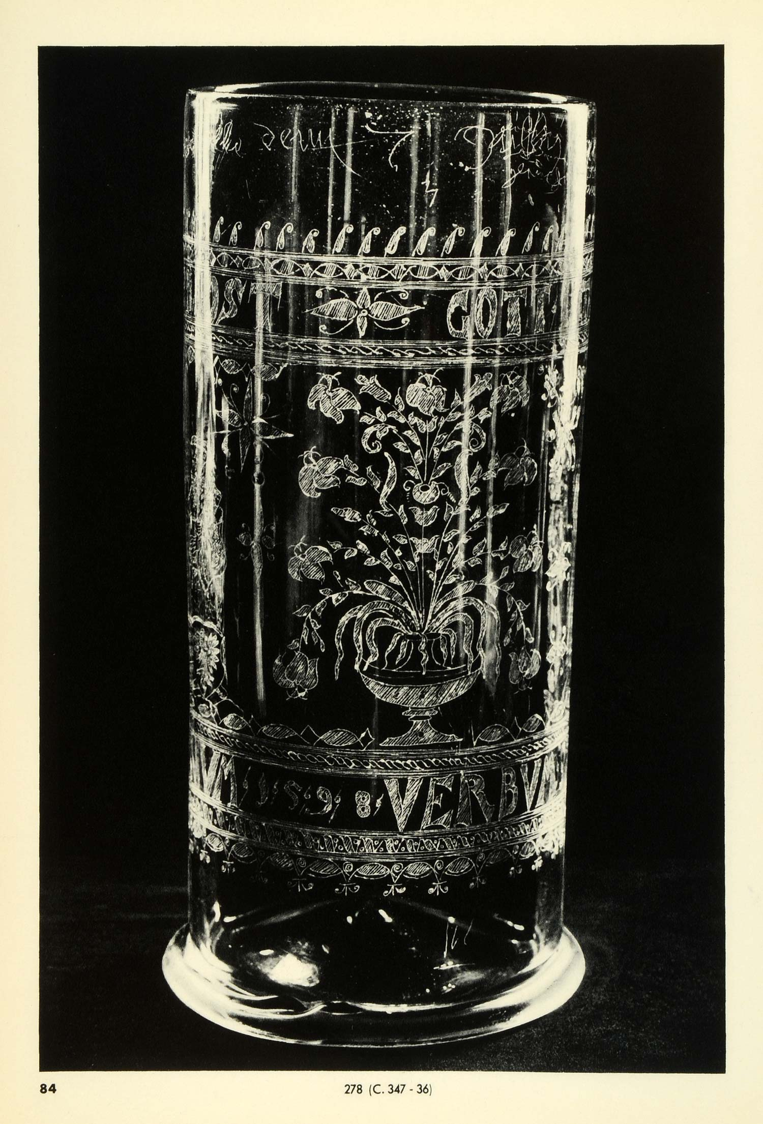 1939 Print Antique 1598 German Engraved Glass Beaker Holy Roman Empire TAG1