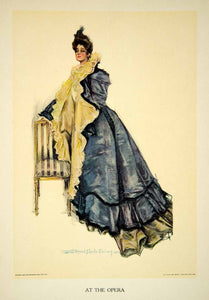 1906 Color Print Opera Ball Gown Evening Wear Howard Christy Girl Cloak TAG2