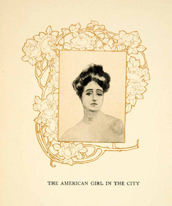 1906 Print American Girl City Howard Chandler Christy Portrait Rose TAG2