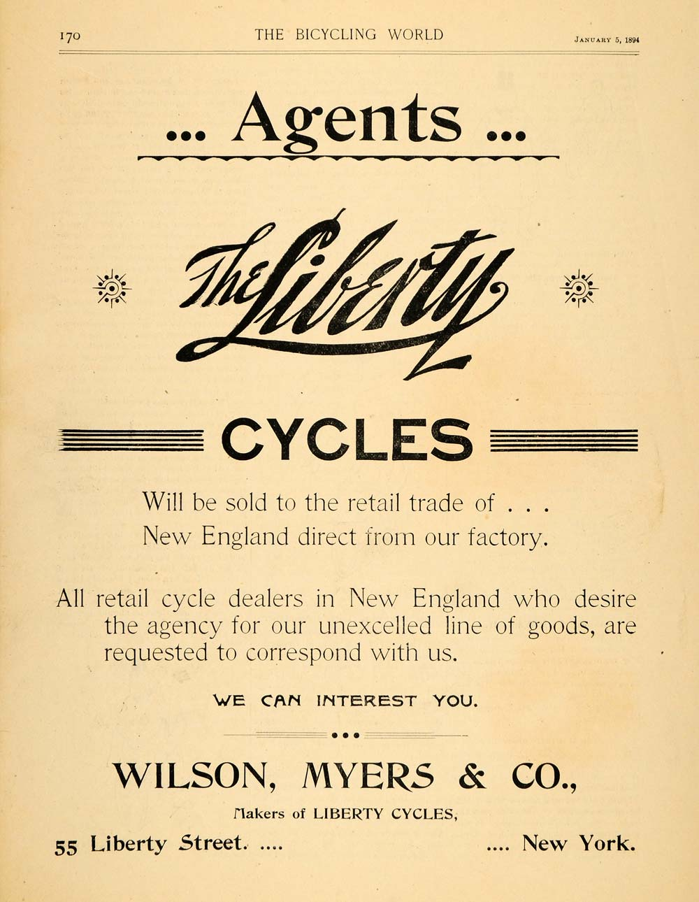 1894 Ad Liberty Cycles Wilson Myers Biking Bicycle - ORIGINAL ADVERTISING TBW1