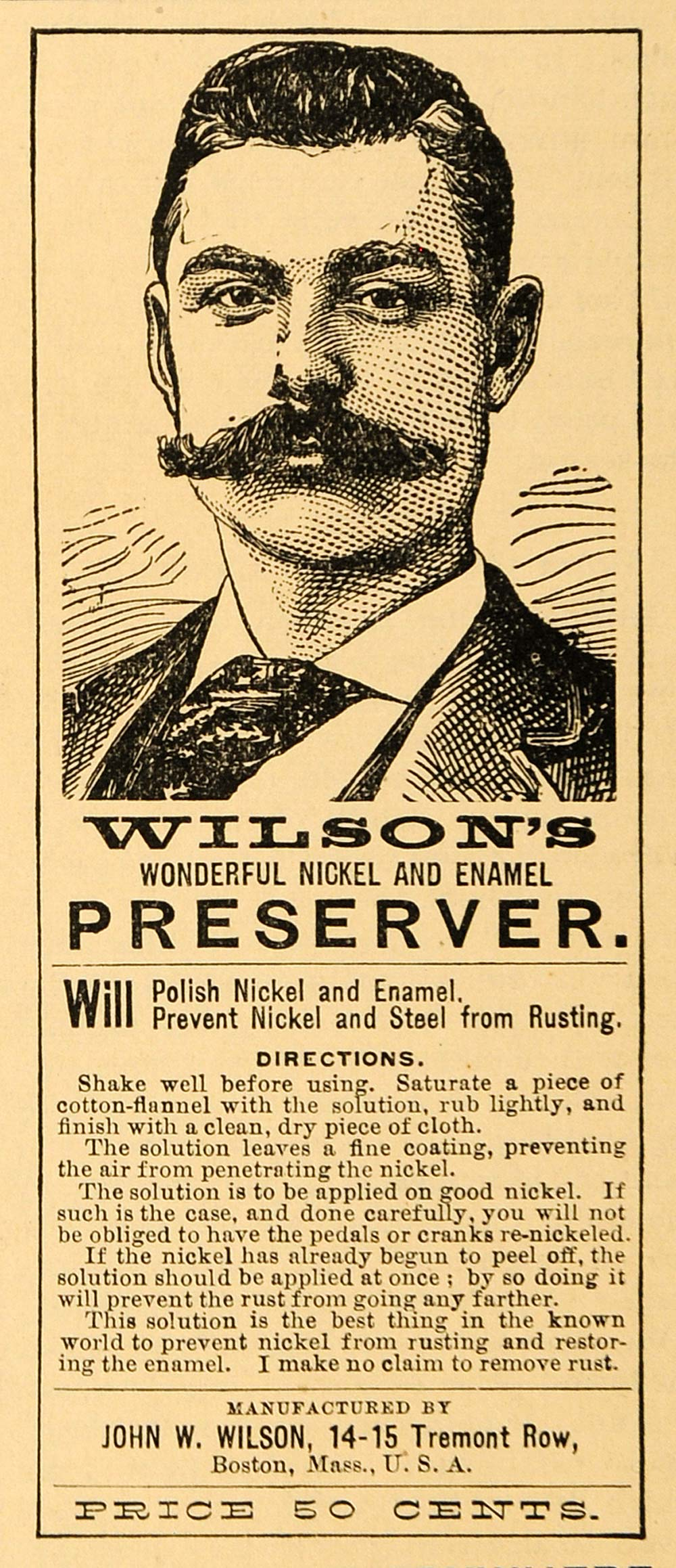 1894 Ad John Wilson Nickel Enamel Preserver Boston - ORIGINAL ADVERTISING TBW1