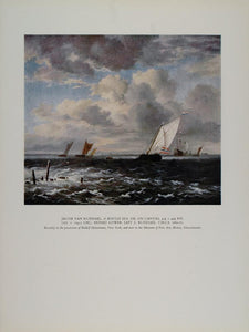1958 Print Rough Sea Jacob Van Ruisdael Sailing Boat - ORIGINAL TC1