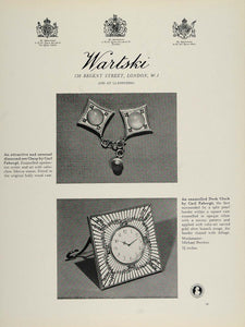 1964 Ad Wartski Diamond Clasp Desk Clock Carl Faberge Jewelry London Perchin TC2