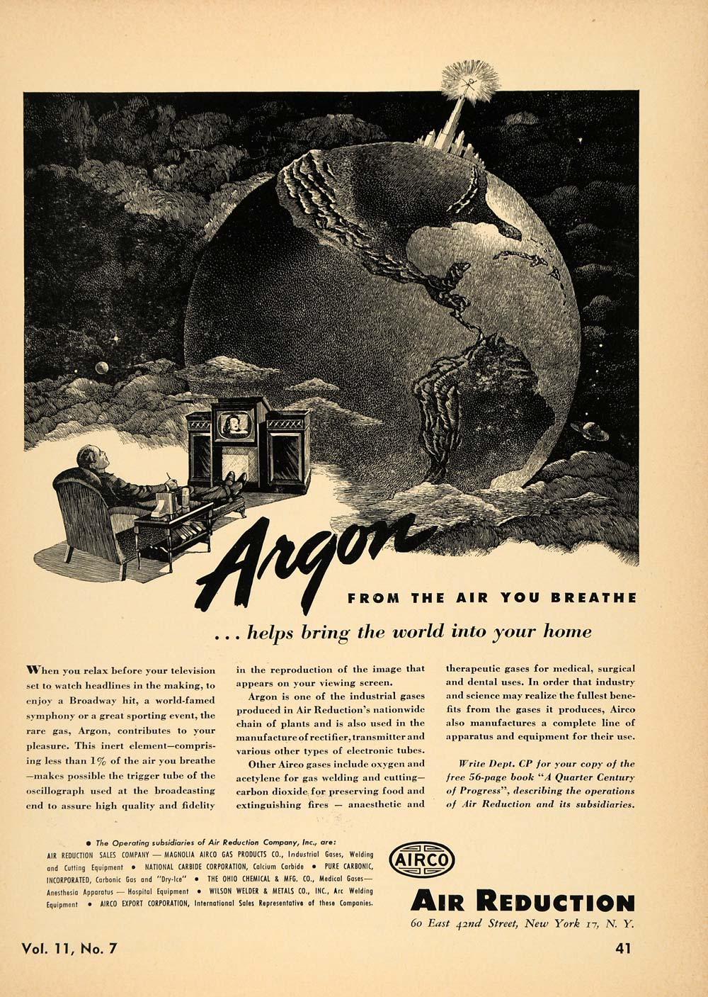 1946 Ad Air Reduction Sales Co. Airco Equipment World - ORIGINAL TCE1