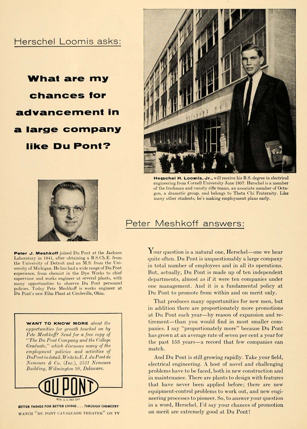 1956 Ad Du Pont Chemical Peter Meshkoff Herschel Loomis - ORIGINAL TCE1