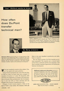 1957 Ad Du Pont Fred Wolford Edward Berg Chemical Work - ORIGINAL TCE1