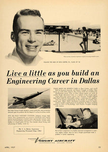 1957 Ad Vought Aircraft Dallas Don Carter Sport Car - ORIGINAL ADVERTISING TCE1