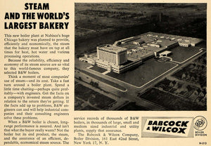 1957 Ad Bakery Babcock Wilcox Nabisco Chicago Boiler - ORIGINAL ADVERTISING TCE1
