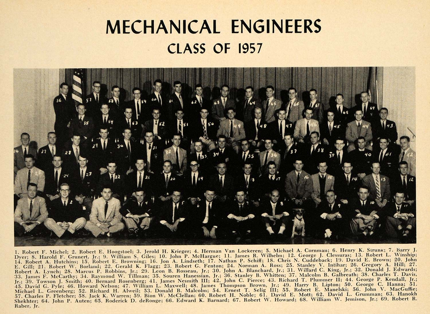 1957 Print Cornell University Mechanical Engineers - ORIGINAL HISTORIC TCE1