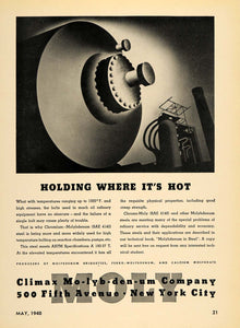 1940 Ad Climax Molybdenum Chrome-Moly Steel Product Briquette Machinery TCE1