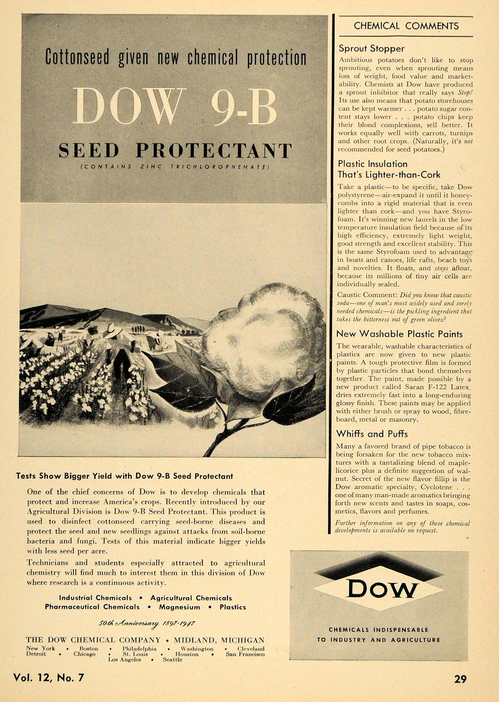 1947 Ad Dow Chemical 9-B Seed Protectant Cotton Field - ORIGINAL TCE1