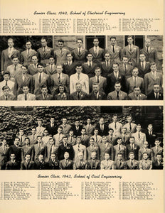 1942 Print Senior Class Electrical & Civil Engineering ORIGINAL HISTORIC TCE1