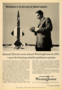 1959 Ad Westinghouse Engineers Sam Zimmerman Missiles - ORIGINAL TCE2