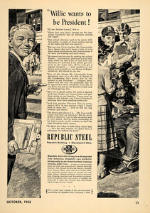 1952 Ad Republic Steel Beverage Boy Ballot Voting Elect - ORIGINAL TCE2