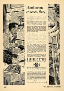 1952 Ad Republic Steel Cruches Doctor Election Freedom - ORIGINAL TCE2