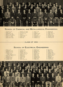 1953 Print Cornell Chemical Electrical Engineer Classes ORIGINAL HISTORIC TCE2