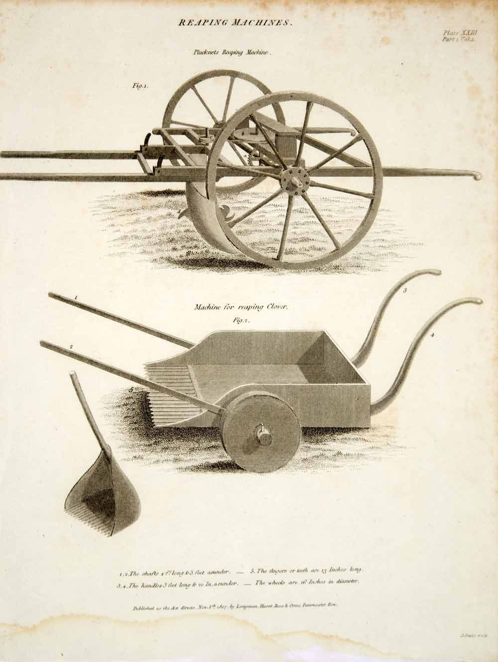 1807 Copper Engraving Plucknett's Clover Reaping Farm Machinery Agriculture TCF2