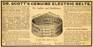 1885 Ad Dr. Scott's Electric Belts Cure All Pricing NY - ORIGINAL TCM1