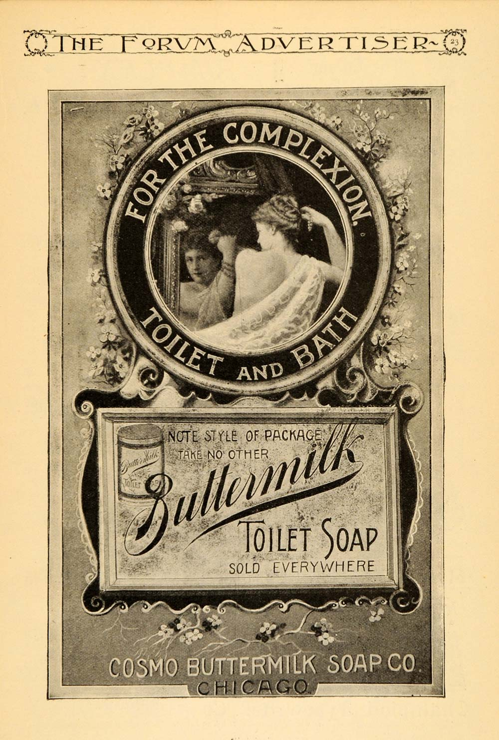 1895 Ad Cosmo Buttermilk Bath Soap Woman Mirror Flowers - ORIGINAL TFO1