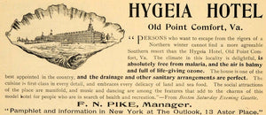 1895 Ad Hygeia Hotel Old Point Comfort Virginia Beach - ORIGINAL TFO1