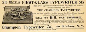 1895 Ad Champion Fully Guaranteed Typewriting Machines - ORIGINAL TFO1