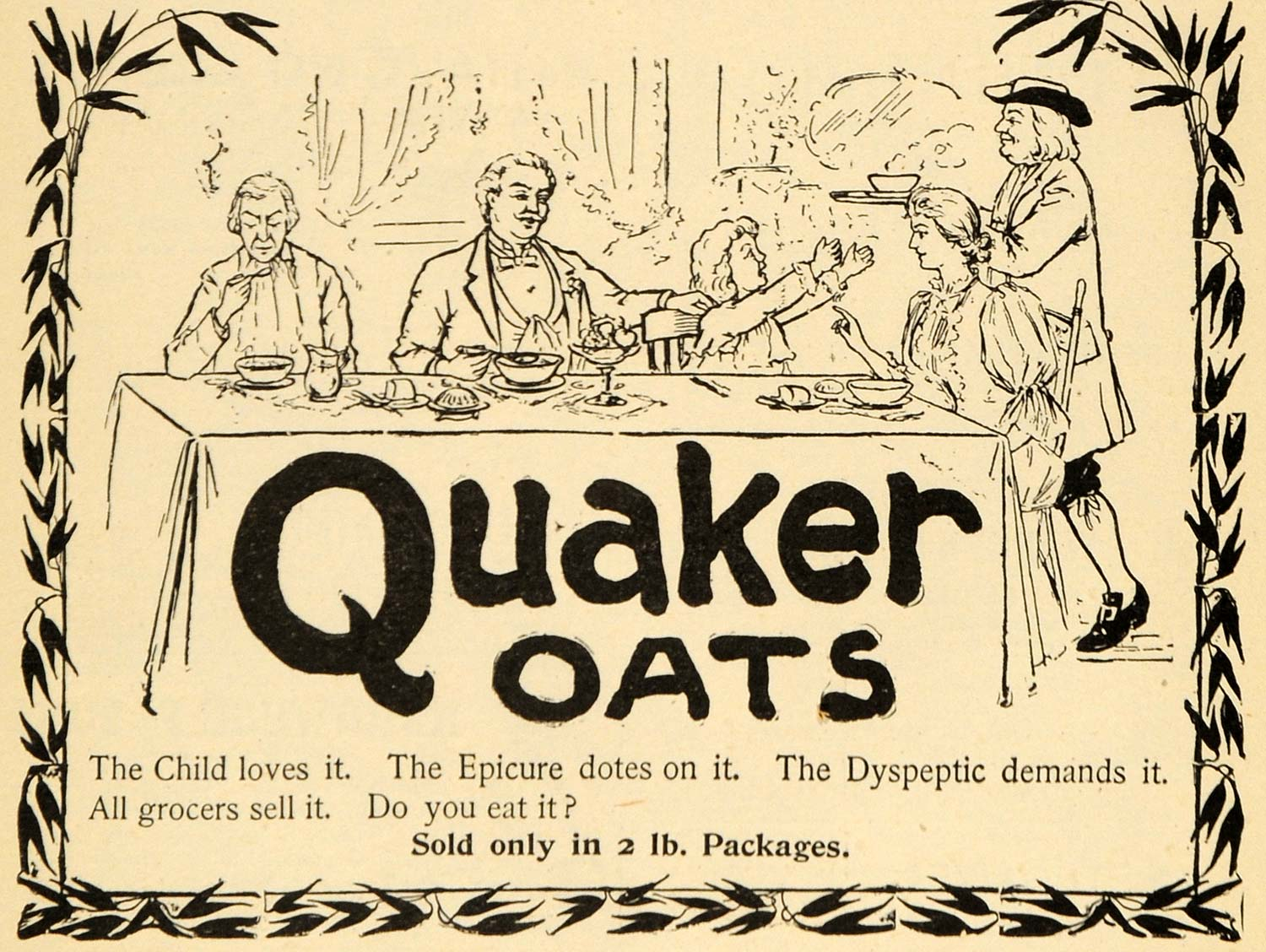 1895 Ad Quaker Oats Cereal Family Meal Time Dine Table - ORIGINAL TFO1