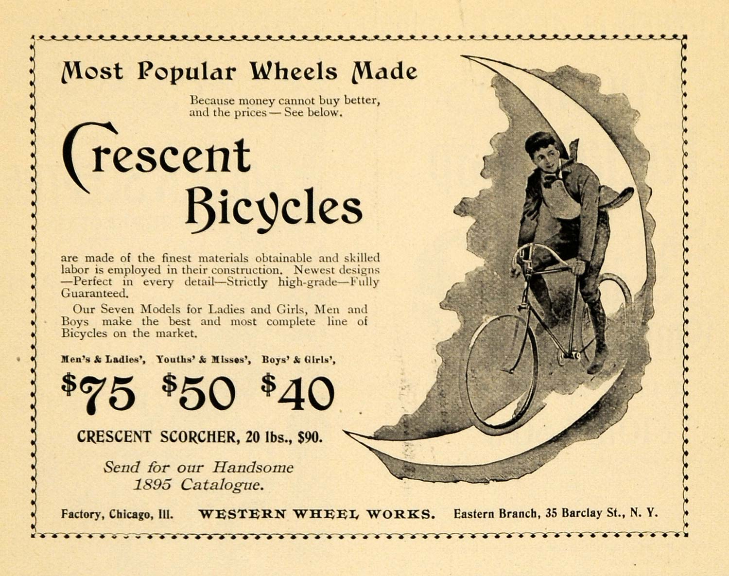 1895 Ad Crescent Bicycles Moon Wheels Seven Models Bike - ORIGINAL TFO1