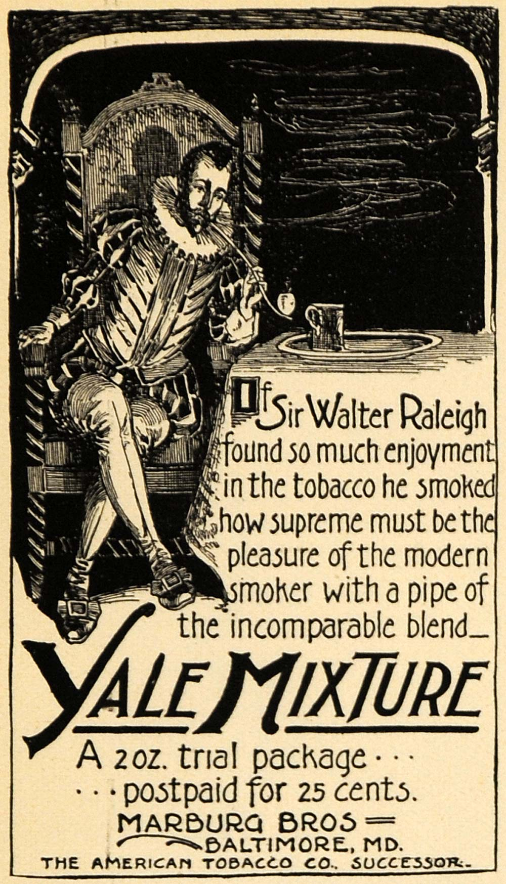 1895 Ad Yale Mixture Walter Raleigh Tobacco Pipe Smoke - ORIGINAL TFO1