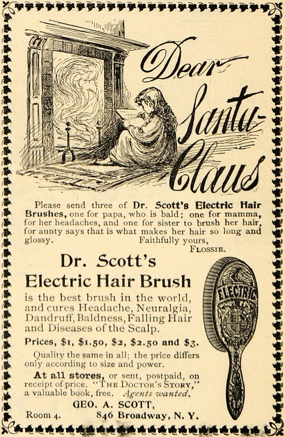 1895 Ad Scott Electric Hair Brush Headache Baldness Art - ORIGINAL TFO1 - Period Paper